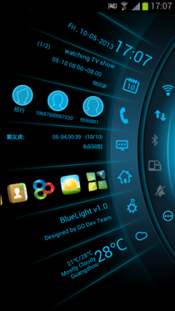 Blue Light Toucher Theme GO (Android Telefon Tema Uygulaması)