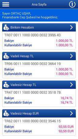 Finansbank Android Cep Şubesi